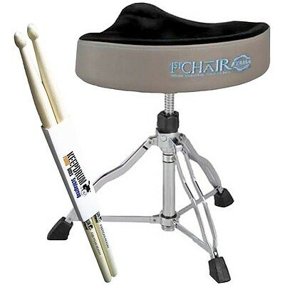 Tama HT530CSG 1st Chair Sattelsitz Drum-Hocker Stone Grey + KEEPDRUM Drumsticks