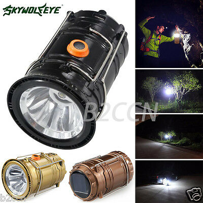 Portable LED Torch USB Solar Rechargeable Lantern Camping Hiking Lamp Light 5W
