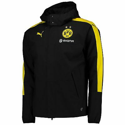 Puma Mens Gents Football BVB Borussia Dortmund Training Rain Jacket - Black