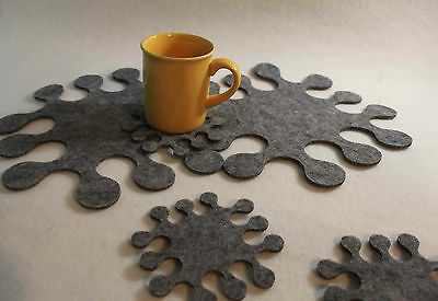 Placemats and Coaster Fingers Weave Felt Table Mats Set of 8 pieces grey coaster