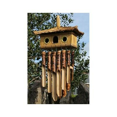Fairtrade Double Bird House Burnt Bamboo Wind Chime