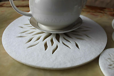Circle Felt Placemats and Coaster Flames Aster Flower Shape Set of  24 pieces