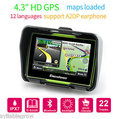 "4.3"" Touch Motorcycle Bike Motorbike GPS SAT NAV Navigation System Bluetooth 8GB"