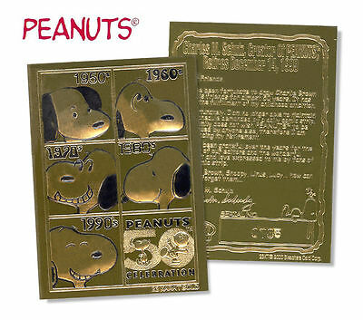 SNOOPY PEANUTS * 50th ANNIVERSARY * Officially Licensed Genuine 23K GOLD Card