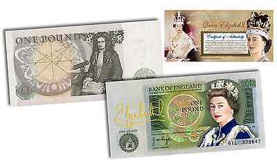 QUEEN ELIZABETH II * COLORIZED * BANK OF ENGLAND One Pound Note (Rare & Limited)