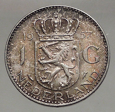 1957 Netherlands Kingdom Queen JULIANA 1 Gulden Authentic Silver Coin i56622