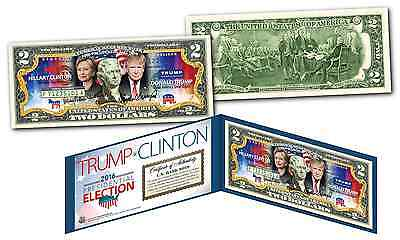 "2016 Election HILLARY CLINTON VS. DONALD TRUMP ""DUAL"" US Legal Tender $2 Bill"