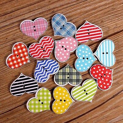 Trendy 50Pcs Sewing Scrapbooking Stripe Dot Heart 2 Holes Wooden Buttons