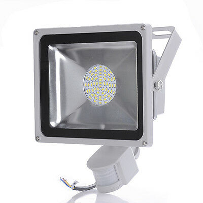 50W LED Flood Light With PIR Sensor Garden Security Lamp Waterproof Cool White