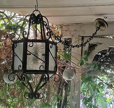 Huge Antique Wrought Cast Iron Clear Glass  Lantern Chandelier Impressive 25.5""