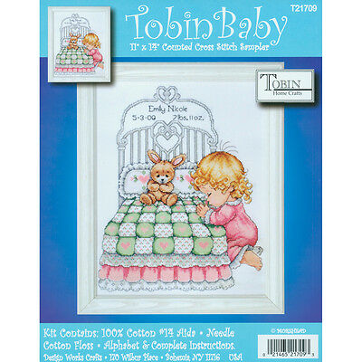 """Tobin Counted Cross Stitch Kit 11""""X14""""-Bedtime Prayer Birth Record (14 Count)"""