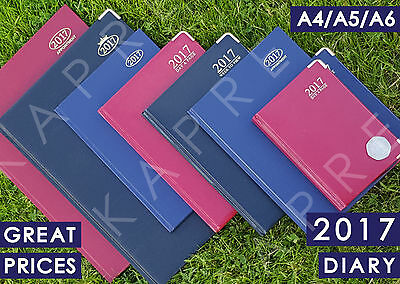 2017 Diary A4/A5/A6 Page A Day/Week to View - Gold Metal Edges/Corners Hardback