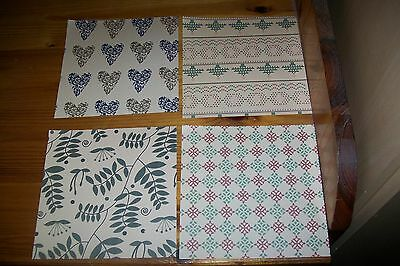4 Sheets Scrapbooking Paper 15X15 Cm  (A165) New Other Side White