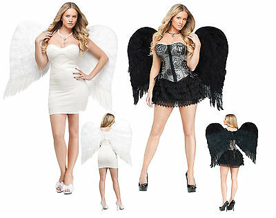 Adult Feather Angel Wings - Black or White Halloween Costume Accessories fnt