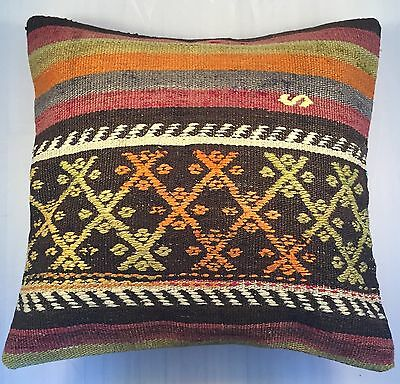 Rug Kilim Pillow Cover 16x16 Vintage Turkish Kilim Cushion  Cover US Seller #70