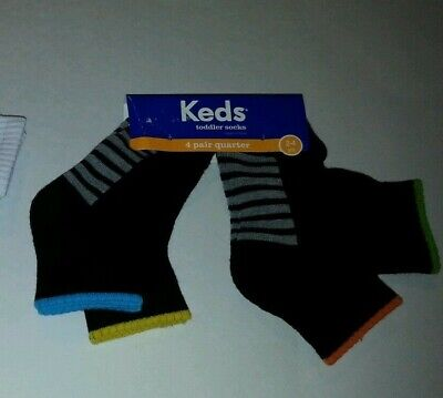 Toddler Keds Brand Unisex White or Black 4 pack Crew Socks Size 12-24 M 2T-4T