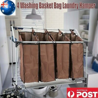 Laundry Cart Basket Trolley 4 Compartment Sorter Washing Clothes Storage Hamper
