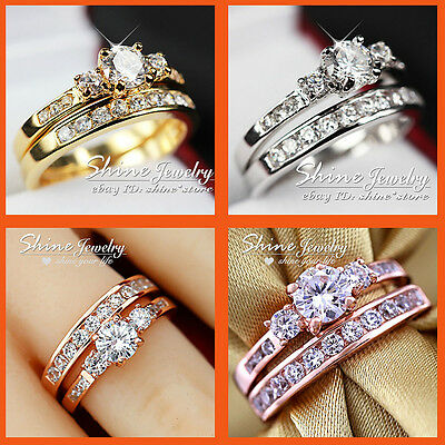 18K Gold Filled Trilogy Simulated Diamond Wedding Eternity Ladies Gift Rings Set