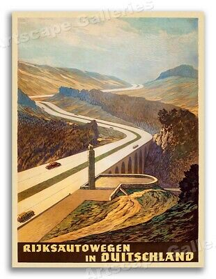 1930s German Autobahn 1939 Vintage Style Automobile Travel Poster - 24x32