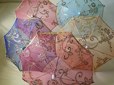 Mini Lace Parasol Umbrella - Gold Tone Rainbow Sequin Floral Decor