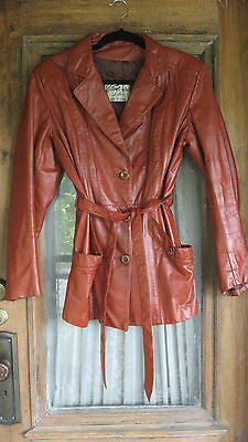 Vintage 70s Ladies Victoria Leather Rust Belted Leather Jacket Boho Hippie M L
