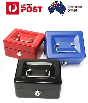 Portable Lockable Cash Box Deposit Slot Petty cash Money Box Safe with 2 keys