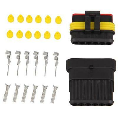 Kit 6 Pin Way Waterproof Electrical Wire Connector Plug New