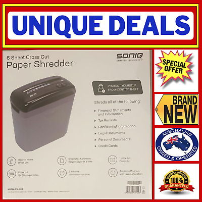 Pendo Home/office Combo Paper Shredder 11L Cross Cut 6 Sheets + Credit Cards
