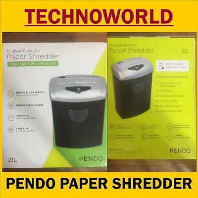 Pendo Home/office Combo Paper Shredder 21L Cross Cut 10 Sheets Cds Credit Cards