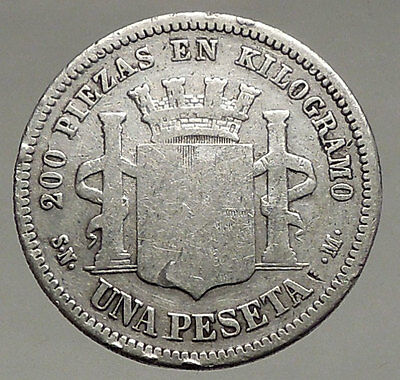 1869 SPAIN Provisional Government Antique SILVER 1 Peseta Coin LIBERTY i56946