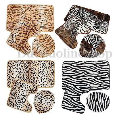 3Pcs 3 Kinds Animal Print Pedestal Rug + Lid Toilet Cover + Bath Mat Carpet Set