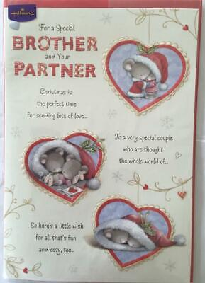 Brother and Partner Wishing You Both Cute Christmas Hallmark To Both Card New
