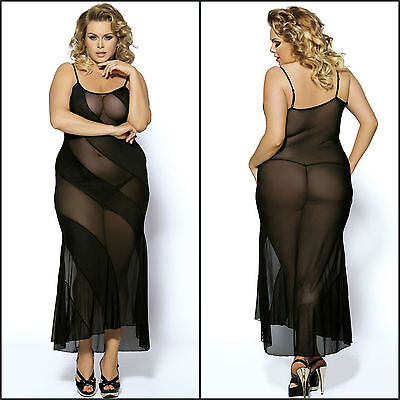 Sexy New Plus Size Women's Black Full Maxi Length Sheer Intimate Lingerie Dress
