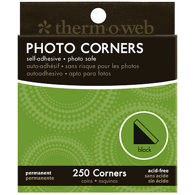 """Photo Corners Boxed 250/Pkg-Black, Set Of 4"""