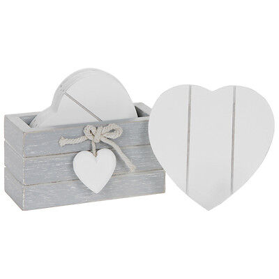 Set of 6 Provence Grey Wooden Coasters – Heart – Drinks – Shabby Chic – White