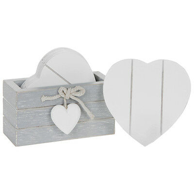 Set of 6 Provence Grey Wooden Coasters – Heart Drinks Shabby Chic White Coaster