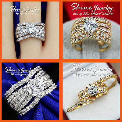 9K Gold Filled 3 Way Simulated Diamond Wedding Lady Solid Channel Three Ring Set