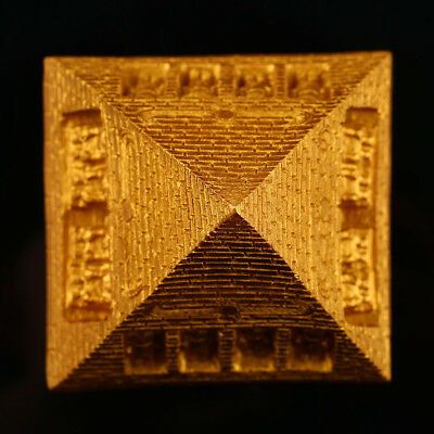 Home Decoration Ornament Golden Resin Egyptian Pyramid Statue Aquarium Fish Tank