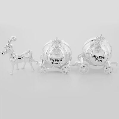 NEW MY FIRST TOOTH & CURL CINDERELLA COACH CARRIAGE Silver Plated 1st Baby Gift