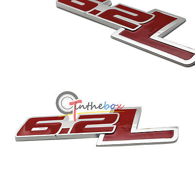1PC Red 6.2L Side Rear Emblem For Chevy Camaro SS Trunk Fender Badge Sticker