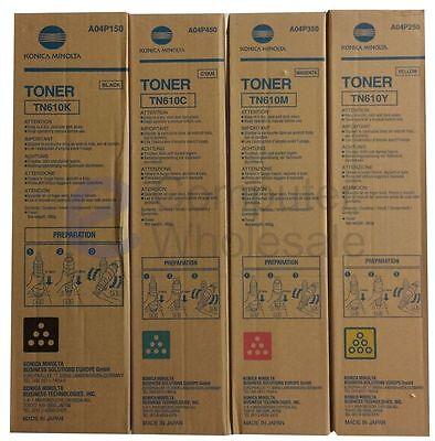 Konica Minolta Genuine TN610 Colour Set Toner C6500 TN610K TN610C TN610M TN610Y