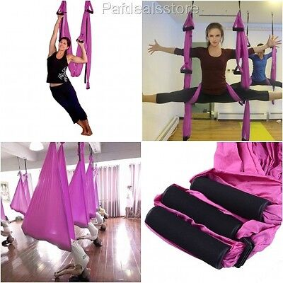 Aerial Yoga Equipment Hammock Fitness Exercise Outdoor Flying Deluxe Pink Sling