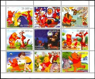 Congo Disney's Winnie The Pooh Sheetlet Of Nine Stamps