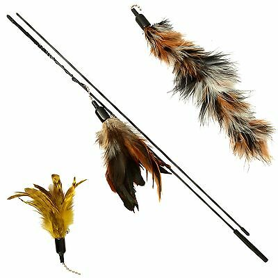 Cat Toy Feather Wand (Includes 3x Feather Refills) - These Natural Feathers a...