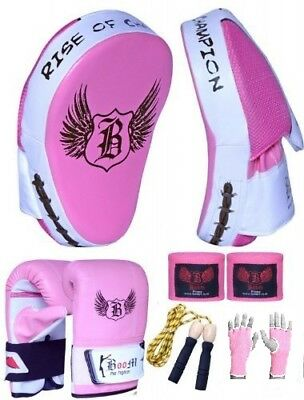 BOOM Prime Ladies Pink Boxing set Focus Pads MMA Kickboxing Punch Bag Gloves