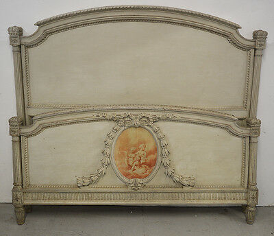 Antique French King size Louis XVI style Bedstead Carved wood detail