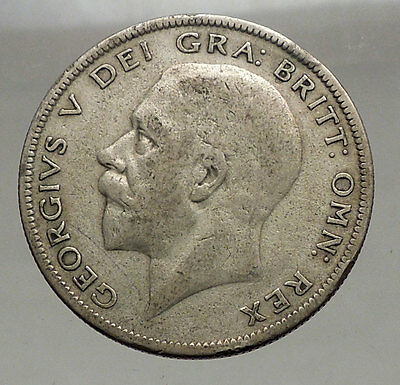 1929 Great Britain United Kingdom UK King GEORGE V Silver Half Crown Coin i56657
