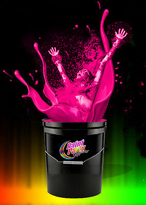 5 Gallon Washable Neon Pink UV Glow Party Paint - Blacklight Paint