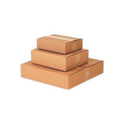 "Flat Corrugated Boxes, 14"" x 6"" x 2"", Kraft, 25/Bundle"