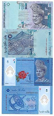Malaysia P-39 & P-51 One Ringgit Paper & Polymer UnC Set # 1 FREE SHIPPING